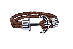OutDazzle Brown Rope ANCHOR Men Bracelet - Silver