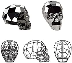 Swarovski Crystal Beads Skull 5750 Silver Night 2X 14x13x10mm