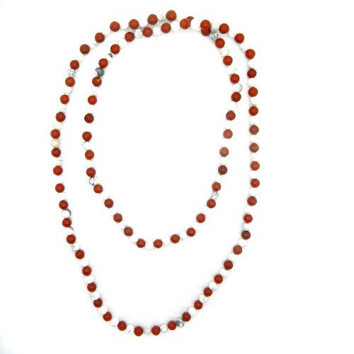 Pearlz Ocean White Howlite and Red Jasper Bead Necklace 50-inches Long