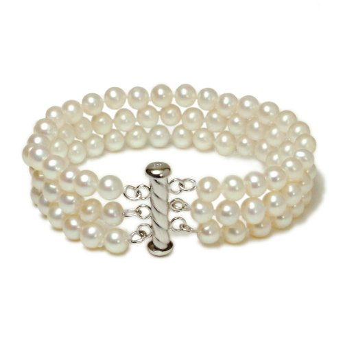 3-Strand White A Grade 5.5-6mm Freshwater Cultured Pearl Bracelet with Sterling Silver Clasp, 7.25