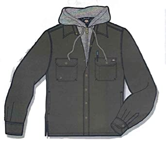 Dickies Men's Canvas Overshirt With Fleece Lining, Graphite, X-Large