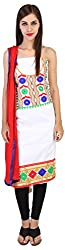 My Happy Life Women's Cotton Unstitched Dress Material (White)