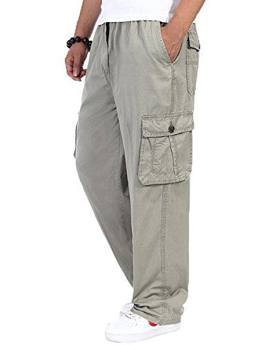 Pantalone uomo cotone Cargo elastico alto in vita Loose-Fit per il tempo libero khaki 5XL