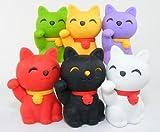 6pcs Japanese Iwako Erasers-Lucky Cat (Welcome Cat)