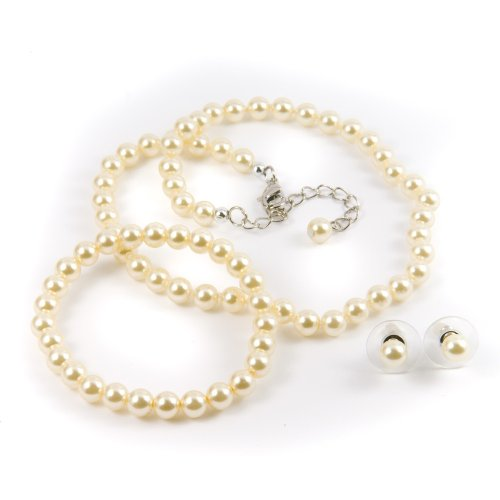 Ivory 6mm Glass Pearl Necklace, Bracelet and Earrings Set by Margot Townsend