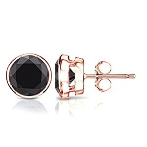 14k Rose Gold Round Black Diamond Stud Earrings Bezel (1/2 cttw, Black Color)
