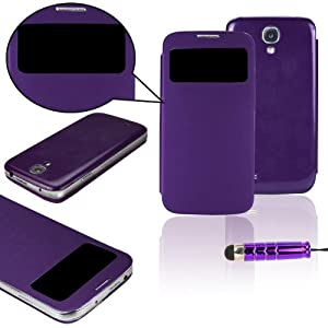 SAVFY 2013 New Flip S View Case Cover For Samsung Galaxy S4 SIV I9500, With Screen Protector And Stylus Pen-Purple