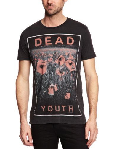 Sinstar Dead Youth Crew Neck Printed Men's T-Shirt Vintage Black Small