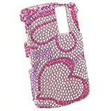 Solid Hard Plastic Snap-On Shell Case for RIM Blackberry Curve 8300 / 8310 / 8320 – Pink Heart Bling Diamond