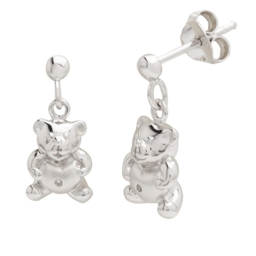 Sterling Silver Children's Teddy Bear Drop Earrings