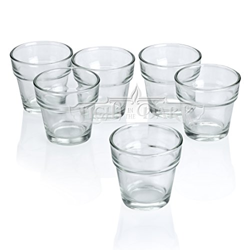 Clear Glass Flower Pot Votive Candle Holders Set Of 12 By Light In The Dark