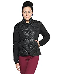 Campus Sutra Cotton Silk Women's Bomber Jackets (AW15_JK_W_P6_BL_S_Black_Small)