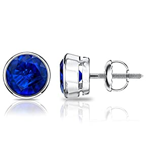 14k White Gold Round Blue Sapphire Gemstone Stud Earrings in Bezel Screw Backs (3/4 cttw)