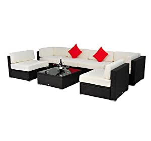 Deluxe Outdoor Patio PE Rattan Wicker 7 pc Sofa Sectional Furniture Set by Outsunny