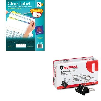 KITAVE11992UNV10200 - Value Kit - Avery Index Maker Clear Label Contemporary Color Dividers (AVE11992) and Universal Small Binder Clips (UNV10200) kitswi3747308unv10200 value kit swingline selfseal clear laminating sheets swi3747308 and universal small binder clips unv10200