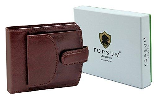 Topsum london TS4009 - Portafogli da uomo in pelle, con tasca laterale per monete, in confezione regalo, colore: marrone