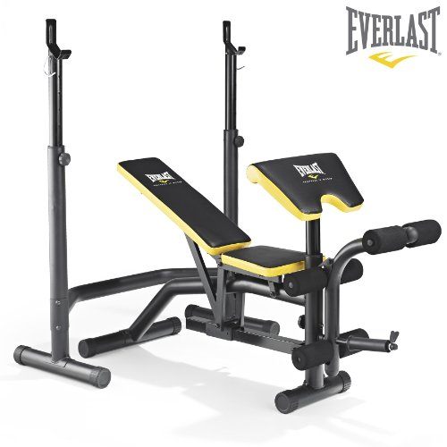 Everlast EV-340 Weight Bench  &  Squat Rack - Preacher Pad  &  Leg Developer Included