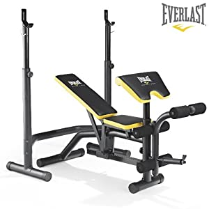 Everlast Ev 340 Weight Bench Squat Rack Preacher Pad Leg Developer Included