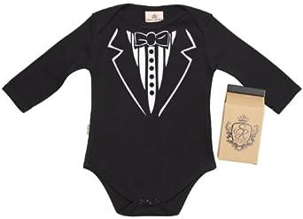 SR - Tuxedo Baby Babygrow 100% Organic Newborn Black in Milk Carton