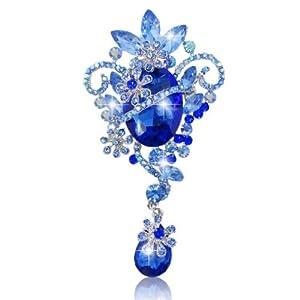 Silver-Tone Flower Ribbon Teardrop Austrian Crystal Blue Pendant Brooch N02355-1
