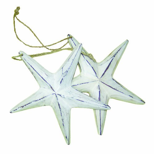Cohasset 302DW5 2-Piece Distressed Wooden White Star Fish