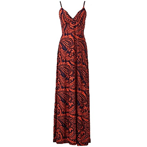 Women Ladies Printed Deep V-Neck Sling Boho Beach Long Maxi Dress Size L