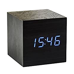 Alarm Clock, Petforu ok to wake Mini Cube-Shaped LED Digital Display Creative Table Wooden Alarm Clock with Time and Temperature Display & Sound Control for Kid, Home, Daily Life (Black & Blue) (