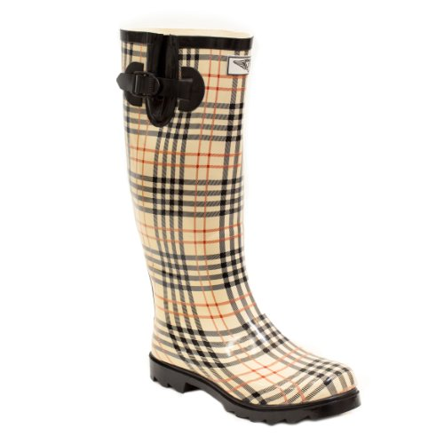 Women Rubber Rain Boots - Checkers Plaid - Size 6