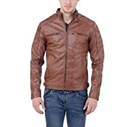 Bulls Eye Men's Leather Jacket(BE05_Brown_39_Small)