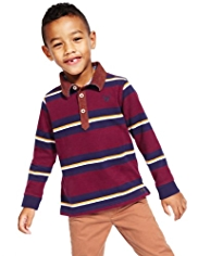 Autograph Pure Cotton Corduroy Polo Collar Striped Rugby Top