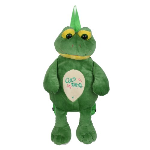 Cute EOZY kids bag animal modeling children's bag plush backpack fluffy Go Green Frog toy