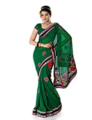 Designersareez Women Chiffon Embroidered Deep Green Saree With Unstitched Blouse(1405)