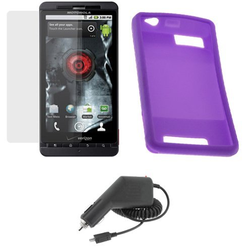 GTMax Purple Soft Rubber Silicone Skin Cover Case + Clear LCD Screen Protector Film + Car Charger for Verizon Motorola Droid X CDMA Cell Phone