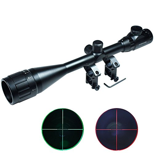 Lukher Hunting 6-24x50 AOEG Rifle Scope Red Green mil-dot illuminated Optical Gun Scope w/ Mount set (Ruger 10 22 Auto compare prices)