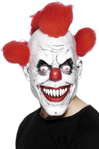 Smiffy's Clown 3/4 Mask with Hair - Adult, One Size
