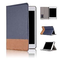 Qinda Luxury Leather Smart Flip Case cover for Apple iPad Mini 1/2/3 [Sleep/Wake] (Dark Blue)