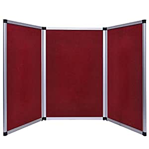 Ghp 6ft tabletop burgundy 3 panel trade show for Office display board
