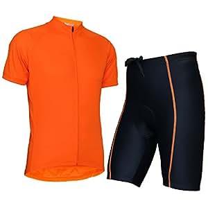 Wellcls(ウェルクルズ) 半袖 サイクルジャージ 上下セット サイクルウェア サイクリングウェア 自転車 サイクリング (オレンジ, S)