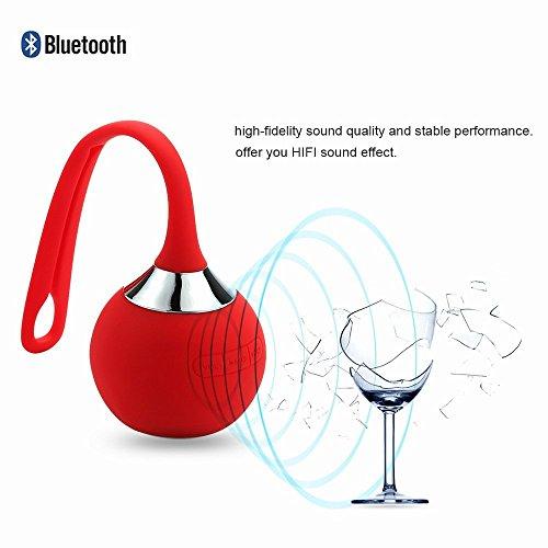 Mopo 高品質 Bluetooth4.0 ワイヤレス 防水 防滴 耐衝撃 スピーカー かわいい おしゃれ ブルートゥース iPhone iPad スマートフォン対応 小型なポー タブルスピーカー アウトドア/お風呂に/キッチン/洗面所/景品/贈り物 (レッド)
