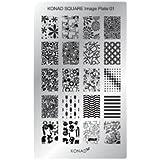 KONAD - VÉRITABLE PLAQUE NAIL ART STAMPING RECTANGULAIRE - 01