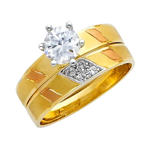 14K Yellow and White 2 Two Tone Gold Round-cut CZ Cubic Ziconia Solitaire Ladies Engagement Ring and Wedding Band 2 Two Piece Set - Size 5
