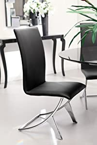 Delfin Commercial Grade Chrome Steel Dining Chair Black , Set of 2