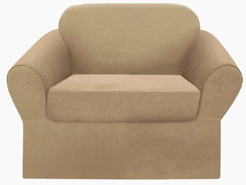 2-Pieces Soft Micro Suede Solid Sage Green Separate Seat Armchair / Arm Chair Cover Slipcover (Box Cushion)