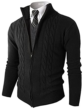 H2H Mens Pullover Sweater Knitted Zip-Up Cardigan With