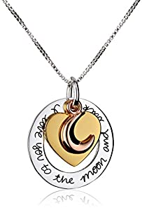 "Tri-Color Sterling Silver with Yellow and Rose Gold Flashed ""I Love You To The Moon and Back"" Heart Pendant Necklace, 18"" from LA Rocks"