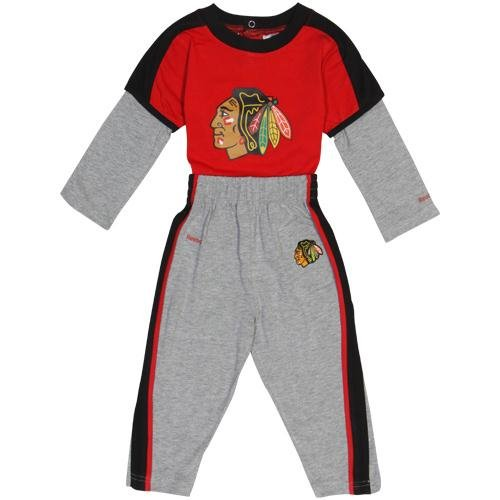 NHL Reebok Chicago Blackhawks Infant Long Sleeve Creeper and Pant Set - Red/Ash (18 Months) at Amazon.com