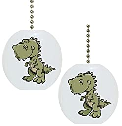Set of 2 Baby T-rex Dinosaur Dino Solid Ceramic Fan Pulls