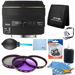 Sigma 30mm f/1.4 EX DC HSM Lens for Canon Digital SLR Cameras With Cleaning Kit, Flash Bracket, Micro Fiber Cleaning Cloth, Card Wallet, Zeikos Filter!, Lens Cap Cleaner and more!