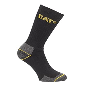Caterpillar Crew Work Sock - 3 Pair Pack / Mens Socks (6-11) (Black)