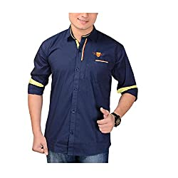 Aedi Casual Shirt For Men (NVY8234_Navy_M)